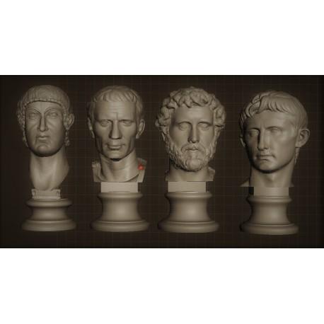 SM 44 Gruppo di 4 Teste di Imperatori (Costantino, Giulio Cesare, Adriano, Augusto) h. cm. 13